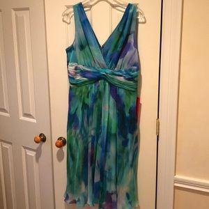 Watercolor Teri Jon silk dress